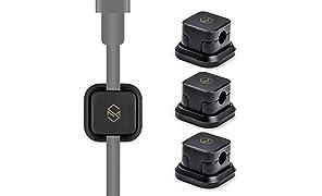 Sinjimoru Kabelhalterung, Magnetische Kabel-Clips/Kabelführung/ Organisation/Flexibles Kabelmanagement für USB Kabel. Selbstklebende magnetischer Kabelbinder, Schwarz, 3er Pack.