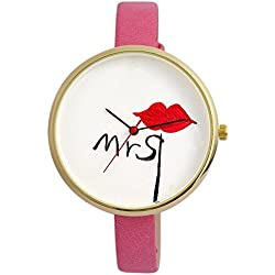 "Women's Quartz Watch White Pink Red Black Gold ""Mrs"" Kiss Lips Love Analogue Metal Leather Wristwatch"