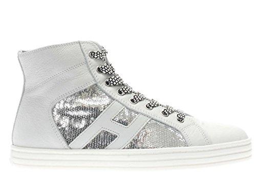 Hogan Rebel Donna Sneaker HXW1410P990FJC0906 Sneaker r141 laterale paillettes Argento/Bianco
