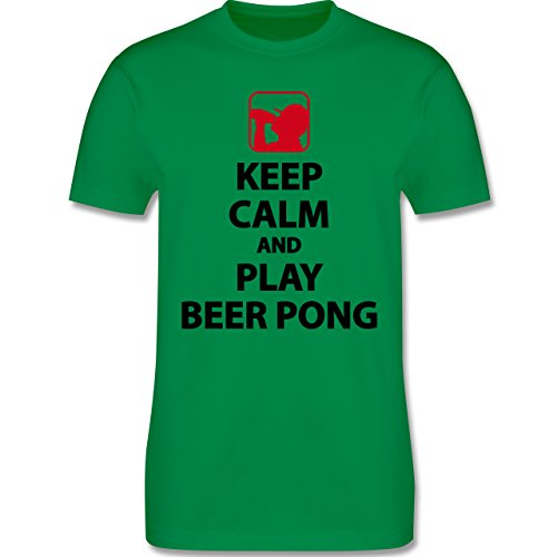 Shirtracer Festival - Keep Calm and Play Beer Pong - Herren T-Shirt Rundhals Grün