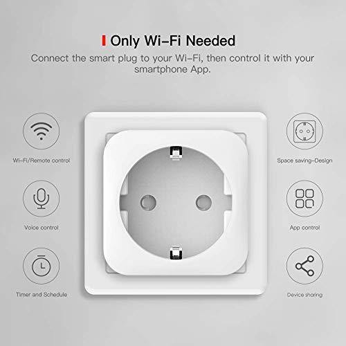 Enchufe Inteligente Wi- Fi 16A TECKIN Mini Smart Outlet Funciona con Amazon Alexa,  Echo,  Google Home,  IFTTT,  No se requiere Hub,  Función de Temporizador,  con Control Aplicaciones en Cualquier lugar