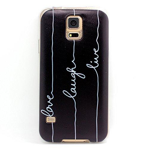 JIAXIUFEN TPU Gel Protettivo Skin Custodia Protettiva Shell Case Cover Per Samsung i9600 Galaxy S5 -Love Laugh Live on Black Back Style