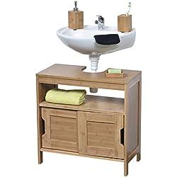 Mueble sobre el retrete o fregadero - 2 Puertas + 1 estantería + 1 casilla - Estilo exótico - en Bambú.