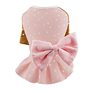 Puppy Face Chihuahua Dresses Cute Fancy Pink Dog Dress Cotton Fabric Star Pattern With Rosette For Dog Girl Medium