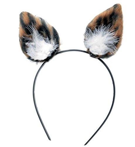 Haarreif Mieze Katze Leopard Plüsch Ohren mit Marabubesatz weiss