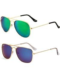 Royal Son Green + Blue Mirrored Aviator And Blue Mirrored Square Aviator Unisex Sunglasses Combo