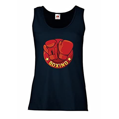 Sleeveless t shirts for women Boxing - MMA, Kickboxing, Box gloves (Small Blue Multi Color)