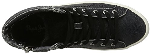 Pepe Jeans London Clinton Sally, Sneaker a Collo Alto Donna Nero (Black)