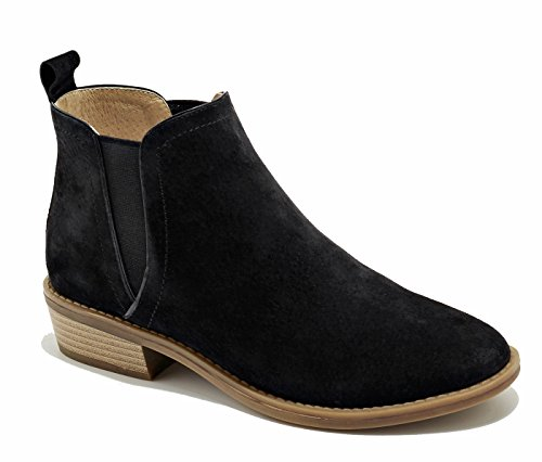 SimpleC Wildleder Chelsea Boots Profilsohle Knöchelhohe Stiefel Blockabsatz Schuhe NSchwarz35 (Faux Boot Wildleder Slouch Schwarz)