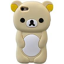 Oso de peluche para iPhone iPhone 6, 6s 3D de caucho de silicona forma animal Cartoon Ariana grande cubierta de estilo (crema)