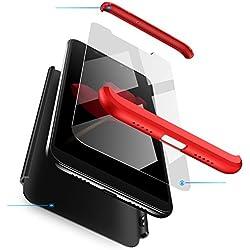 Jardire Compatible Coque Huawei V9(Honor 8 Pro)-Noir + Rouge, [360 degrés Protection] 3 en 1 PC Huawei Case [Ultra Léger Simple] Anti Choc, Envoyer 2 pièces HD Verre trempé Film Protection en écran