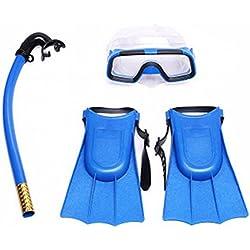 Kit de plongée à tuba Hinmay de qualité supérieure pour enfant - Masque anti-buée, tuba et palmes , bleu