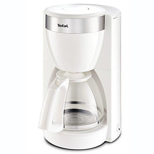 Tefal CM1801 Deflini Plus Glas-Kaffeemaschine mit Edelstahlelementen, 10 - 15 Tassen, 1000 W, weiß
