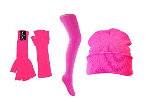 Macahel - Ensemble bonnet, écharpe et gants - Femme Neon Pink Combo