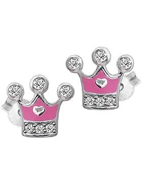 CLEVER SCHMUCK Silberne kleine Ohrstecker 8 x 6 mm Prinzessinnen Krone teils rosa lackiert mit Zirkonias und Mini...