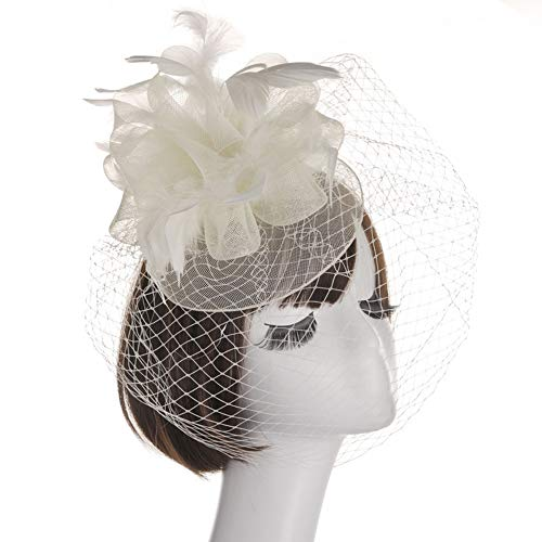 LZY Fascinators Zylinder für Frauen Vintage Mesh Perle Haarspange Tea Party Hochzeit Headwear Cocktail Kentucky Derby Stirnband,Beige