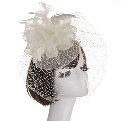 LZY Fascinators Zylinder für Frauen Vintage Mesh Perle Haarspange Tea Party Hochzeit Headwear Cocktail Kentucky Derby Stirnband,Beige