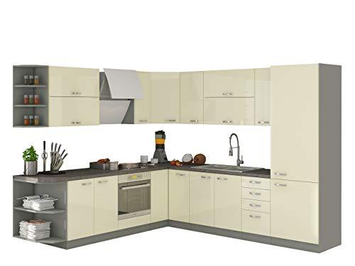 Mirjan24  Küche Multiline I, Küchenblock/Küchenzeile mit Arbeitsplatte und Spühlbecken, 12 Schrank-Module frei kombinierbar (Grau/Creme Hochglanz)