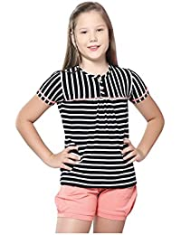 Night Suit for Girls - Orange Color - Cotton Material - Striped Top and Shorts Set - Half Sleeves Top - Available for 8/10/12/14 Year Old Girls - Casual wear for Kids