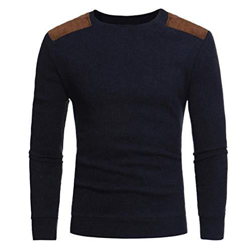 UJUNAOR Männermode Beiläufig Rundhals Patchwork Herren Pullover Tops Bluse (L,Marine)
