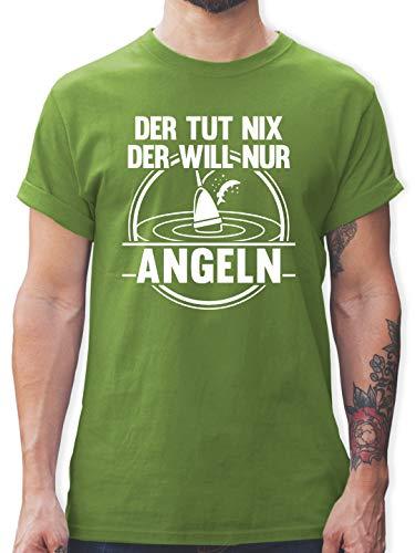 Angeln - Der TUT nix der Will nur Angeln - M - Hellgrün - L190 - Herren T-Shirt Rundhals