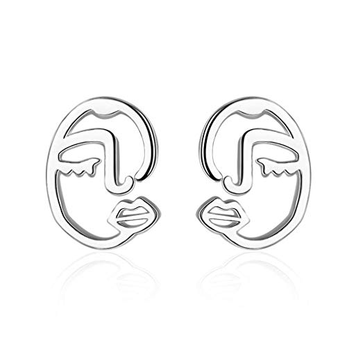 (Wiftly1 Paar Damen Retro Kunst abstrakte Mode Einfach Gesicht Ohrring)