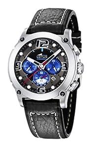 Lotus Mataro - Reloj cronógrafo de caballero de cuarzo con correa de piel negra (cronómetro) - sumergible a 100 metros de Lotus