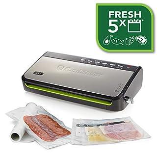 FoodSaver FFS005X Machine sous Vide avec Compartiment de Rangement pour Rouleau et Cutter, Fonction Pulse pour Aliments Fragiles, Inclus Accessoires et Sacs de Mise sous Vide Assortis