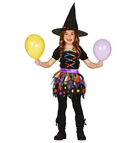 bunte Kinder Hexe Kostüm für Mädchen Gr. 98-146, (Hexe Kostüme Kind Bunte)