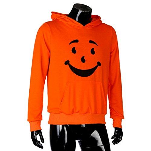 ween Langarm,Druck Letter Hoodie Kapuzen Sweatshirt Tops Jacken Mantel (Orange, L) (Halloween-drucke)