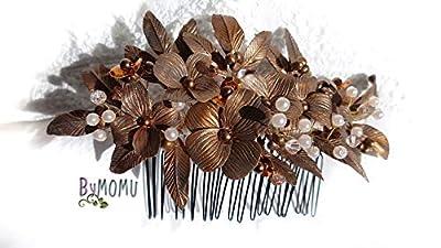Fleur Hair Decoration de CUIVRE-Fleurs Porcelaine à froid-porcelaine Accessoires pour cheveux de mariée-peigne à cheveux