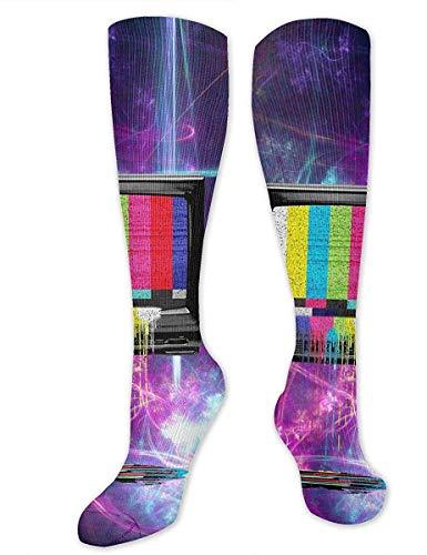 MACITA Retro Tv Dripping Colors Socks Athletic Socks Knee High Socks For Men Women Sport Long Sock Stockings 50CM 50cm