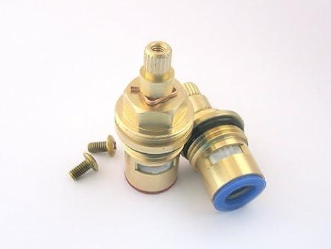 HALF TURN Replacement Brass ceramic disc tap valve gland insert BSP 1/2 (basin size) (HTV-Q153H (53mm x 8mm spline)) by Tap Magician