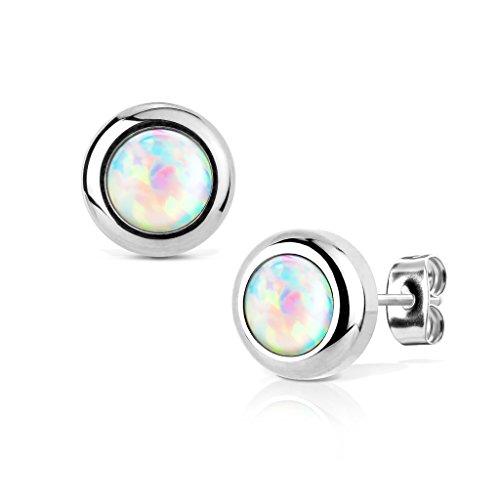 KULTPIERCING - Ohrringe Opal 1 Paar Ohrstecker Silber 316 L Chirurgenstahl / Edelstahl Damen Schmuck Ohr-Schmuck - Weiß (Paar Ringe Aus Edelstahl)