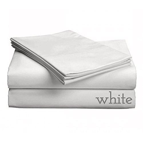 Gotcha Luxe Collection 618 Karat gekämmte Baumwollsatingewebe Low Profile für Matratzen bis 27,9 cm Bettlaken-Set Queen - Weiß - Luxe Baumwolle Collection