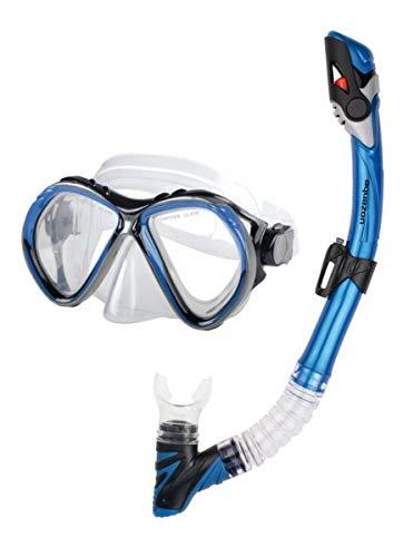 AQUAZON BARCELONA Hochwertiges Schnorchelset, Tauchset, Schwimmset, Schnorchelbrille mit Tempered Glas, Schnorchel mit Dry top, Maske Silikon für Erwachsene, Senior, Farbe:blau -