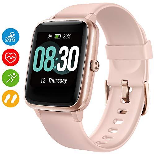 UMIDIGI Smartwatch Uwatch3 5 ATM Fitness Tracker Armbanduhr Sportuhr Smart Watch für Damen Herren Kinder mit Herzfrequenz Schlaftracker Kompatibel mit Android und IOS Xiaomi Samsung Huawei (Rosa Gold)