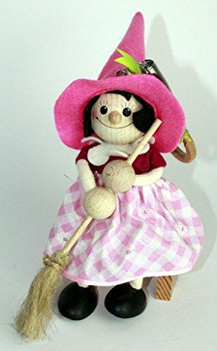 Holzfigur Schwingfigur Kantenhocker aus Holz mit Sprungfeder ca. 15cm (Hexe mit rosa Hut)