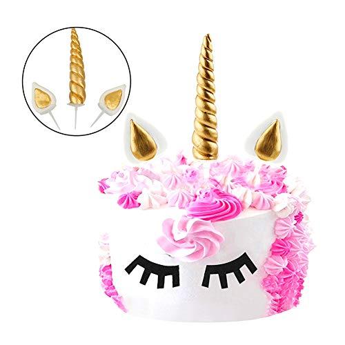 (Miji 3 Stück Handgefertigte Gold Einhorn-Geburtstags-Kuchen-Deckel-Einhorn-Horn-Ohren und Wimpern Set Unicorn-Party-Dekoration für Babyparty Hochzeit und Geburtstags-Party)