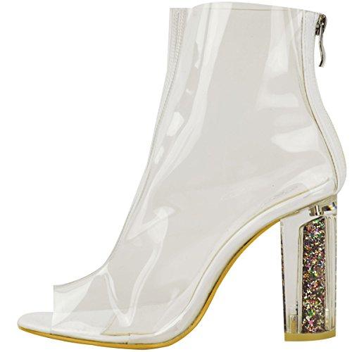 Neu Damen Damen Stiefeletten Klares Perspex Block Absatz Modische Schuhe Größe Weiß Patent / Glitzer Absatz