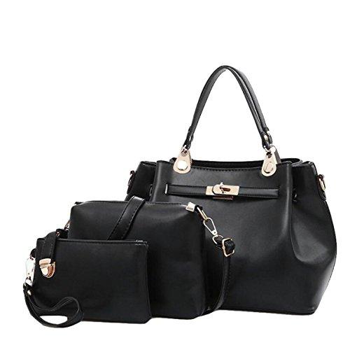 Mode Mutter Tasche Drei - Stück Anzug Damen Tasche Handtasche Umhängetasche Messenger Tasche Freizeit Atmosphäre Black