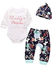 c3129bdde Turkey Baby Boys Girls 3Pcs Daddy's Princess Romper Jumpsuit +Floral  Pants+Floral Hearband Outfits