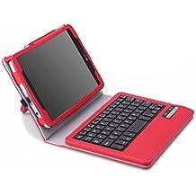 MoKo Wireless Bluetooth Teclado Funda Para LG G Pad F 8.0 [AT&T Model V495 / T-Mobile Model V496 / US Cellular Model UK495] & LG G Pad 2 8.0 [V498] 4G LTE Android Tablet, ROJO