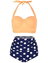 FeelinGirl Women's Vintage Polka Dot High Waisted Push up Bathing Suits Bikini Set