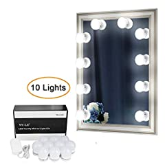 Idea Regalo - YY-LC LC178 set di lampadine al LED per Specchio vanitoso in stile hollywoodiano. Adatto per il bagno/la camera da letto/ postazione trucco, con luci regolabili. collegabile con fascette biadesivo ,lampadine possono essere sostituite. In totale 10 lampadine, lo specchio non è incluso