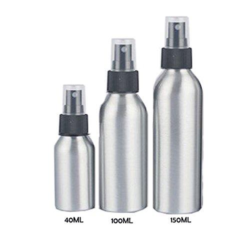 Aluminium Spray Flasche, goodchanceuk 3/Set Mist Spray nachfüllbar Leere Flasche Travel Tragbare Flasche für ätherisches Öl Parfüm Make-up Toner Silber & Schwarz -