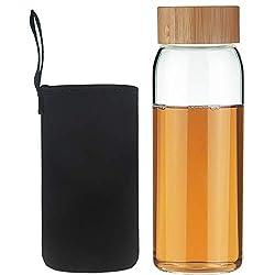 Life4u Borosilikat Trinkflasche Glas Wasserflasche Glasflasche mit Neoprenhülle BPA Free 750 ml Schwarz