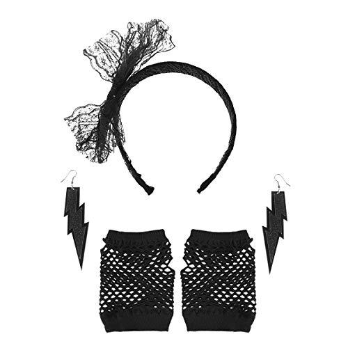 TOYANDONA 2 Set 80er Jahre Accessoires Set Spitze Stirnband Neon Ohrringe und Fingerlose Netzhandschuhe Set 80er Jahre Kostüm Zubehör (Schwarz) (Kreativ-80er Jahre Kostüme)