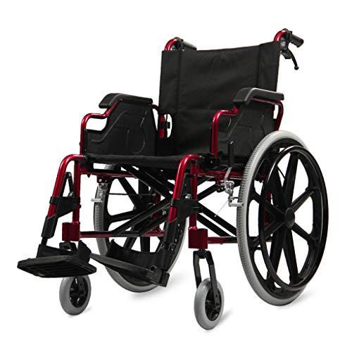 Flashing lights Rollstuhl Behinderte äLtere Multifunktions-Hand-Push-Roller Aluminiumlegierung Leichte, Langlebige Falten Kleine Tragbare Pflege Reise -