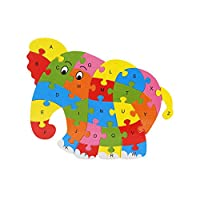 JIANGfu Kids Baby Wooden Wood Elephant Animal Puzzle Numbers Alphabet Learning Educational Toy Gift for Kids